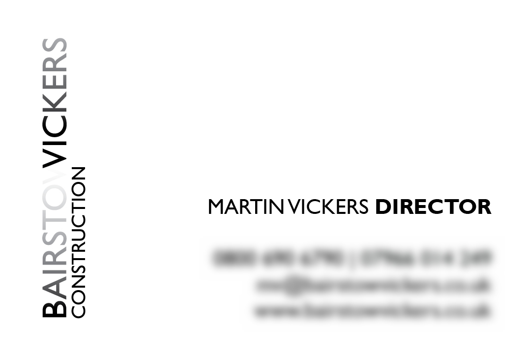 Business Card Design Bairstow Vickers White