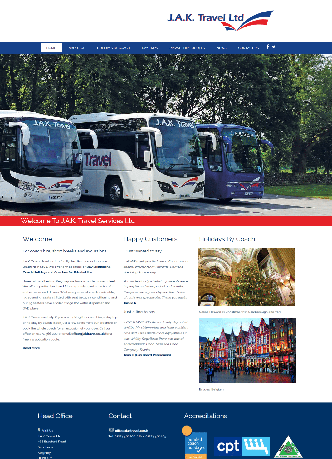 JAK Coach Travel holidays by coach coach trips from Bingley and days out in the UK Keighley and Bradford West Yorkshire