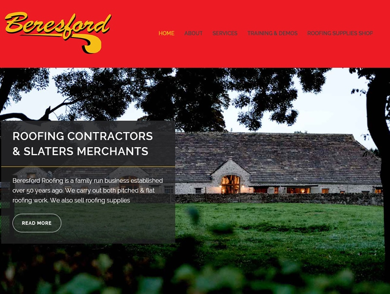 beresford roofing web design