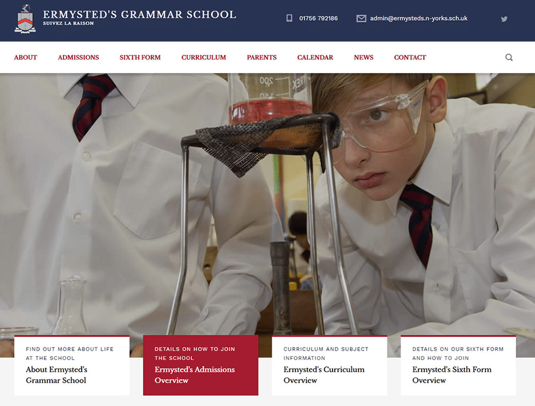 ermysteds_grammar_school web design