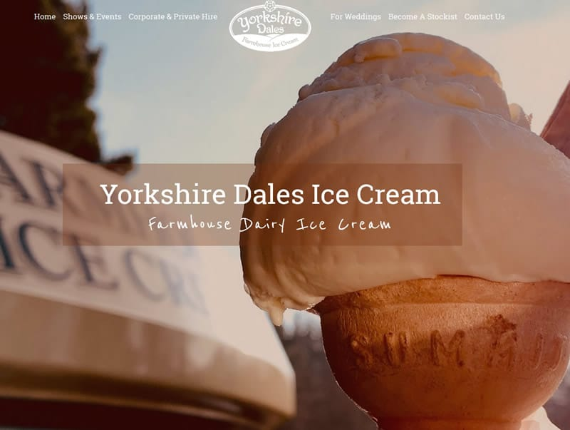 yorkshire Dales Ice Cream Company web design