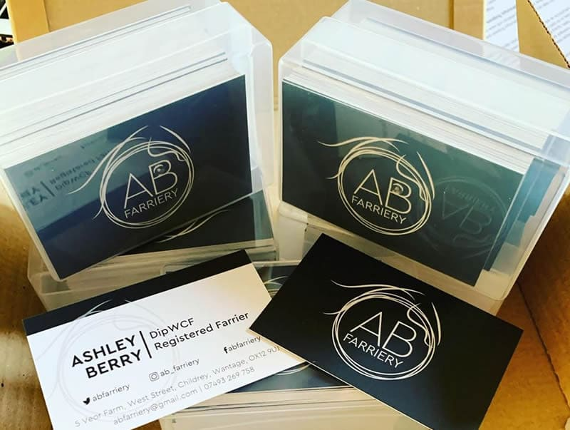 ab farriery business cards deliver
