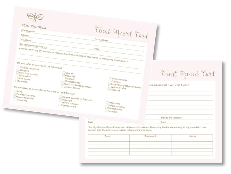 Beauty By Jessica Client Record Cards Design