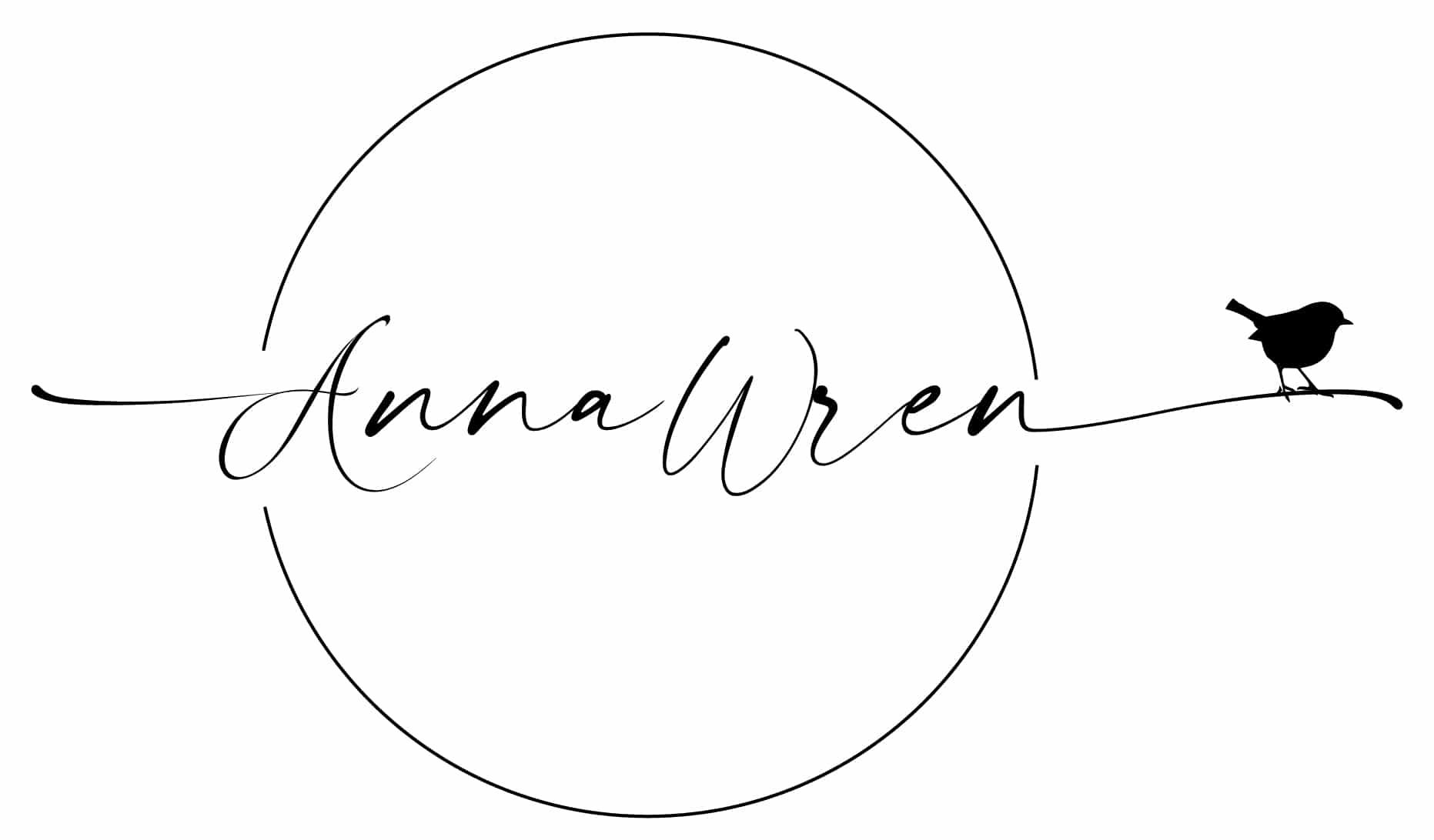 Anna Wren Logo Black and White Circle