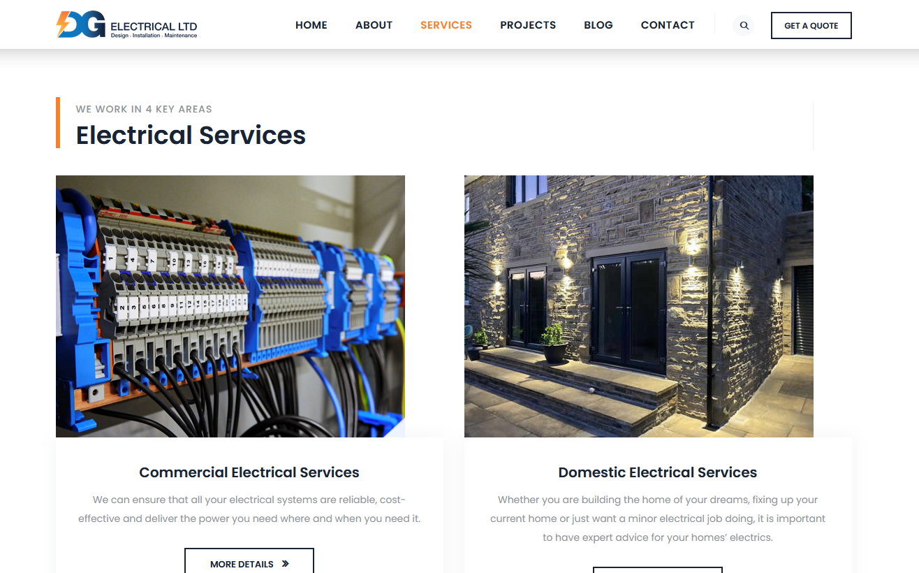 dg electrical website services page